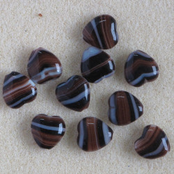 Czech glass heart shaped bead, brown coloured stripes. Pack of 10.