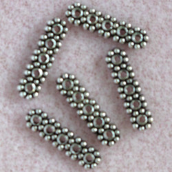 5 hole spacer, antique silver colour. Pack of 10.