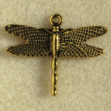 F5001 - Dragonfly Charm Pendant, Gold Colour. Pack of 2.