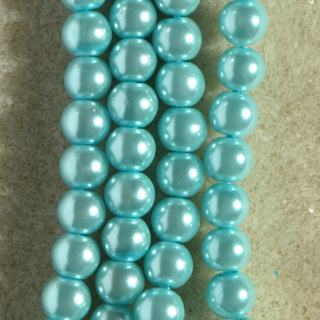 PL0609LS - 6 mm Light Turquoise Glass Pearls, Approx. 140 per String.