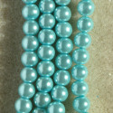 6 mm light turquoise glass pearls, approx. 140 per string.