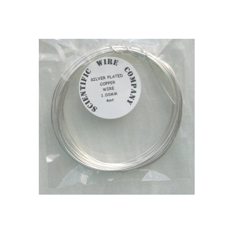 TH5010 - Silver plated copper wire, 1.0mm diameter.  4m length