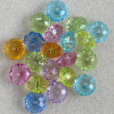 Plastic, rondelle shaped beads, mixed colours, pack of 20.