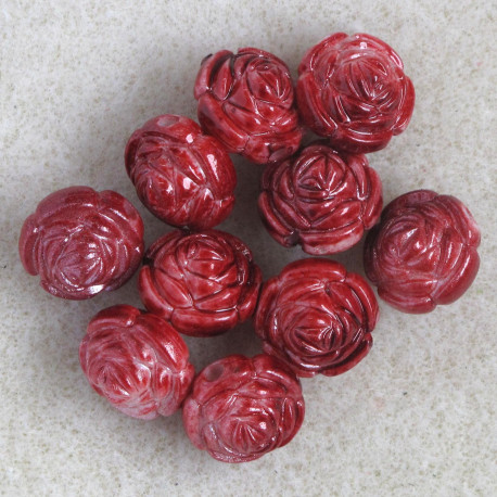 PB2120 - Red, Plastic, Rose Bead, Pack of 10.