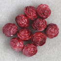 Red, plastic, rose bead, pack of 10.