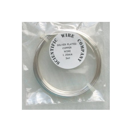 TH5012 - Silver plated copper wire, 1.25mm diameter.  3m length