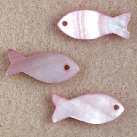 SHL1041 - Pink, Fish Beads, Pack of 3.
