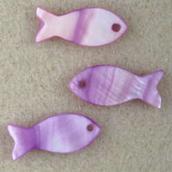 SHL1043 - Purple, Fish Beads, Pack of 3.