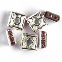 Diamonte, square rondelles pink, pack of 6.