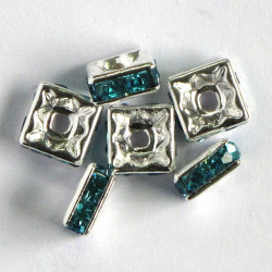 Diamonte, square rondelle, turquoise blue stone, pack of 6.