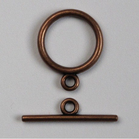 F4053 - Simple, Antique Copper Coloured Toggle Clasp, Pack of 1.
