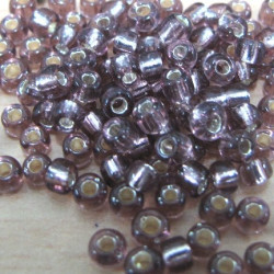 Size 8 silver lined amethyst purple seed beads. 20g