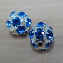 Diamanté beads blue. Pack of two.