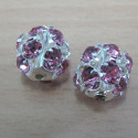 Diamanté beads, pink. Pack of 2.