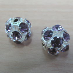 RN1047 - Diamante bead, amethyst col. Pack of 2.
