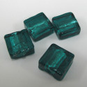 Dark teal foiled flat square beads. Pack of 10.