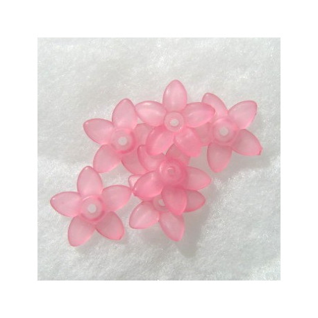 LC0302 - Lucite  five pointy  petals flower, pink. 17mm. Approx 28 per pack