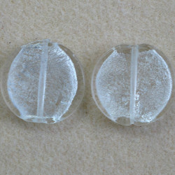 Large round, silver lined, clear glass bead, pack of 2.