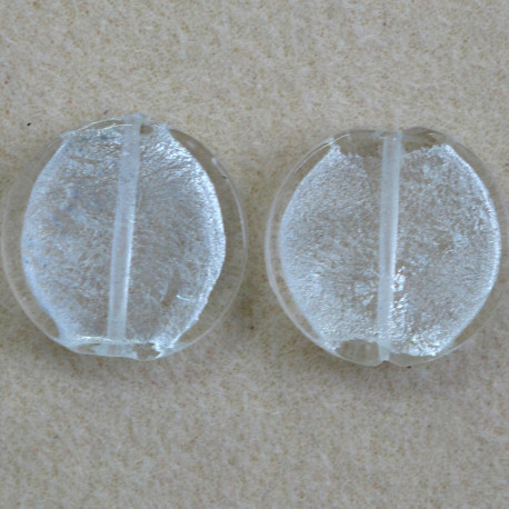 GB2300 - Large Round, Silver Lined, Clear Glass Bead, Pack of 2.