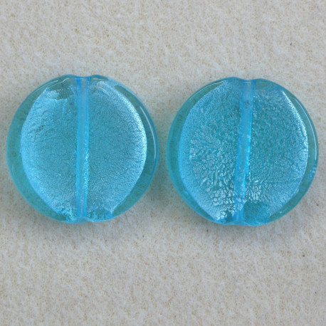 GB2301 - Large Round, Silver Lined, Light Blue Bead. Pack of 2.