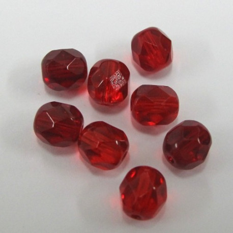 FP6251 - 6mm red fire polished beads. Pack of 100