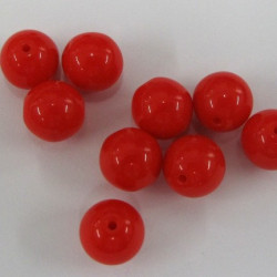 5mm red glass beads. Pack of 50