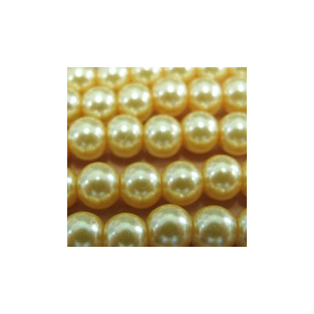 PL0667 - Strand of 6mm yellow glass pearls.