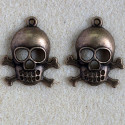 Large skull and crossbones pendant, antique brass coloured, pack of 2.