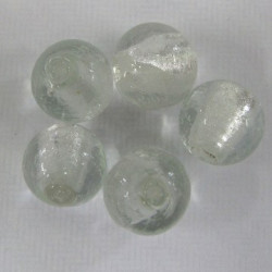 14mm silver lined glass beads. Pack of 5.