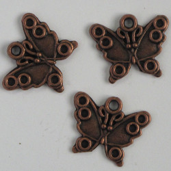 Antique copper coloured butterfly charm, pack of 6.