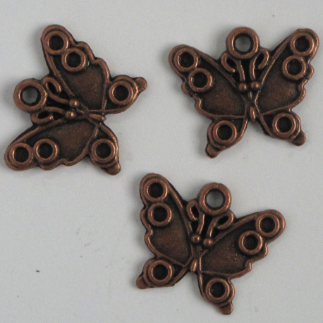F8523c - Antique Copper Coloured Butterfly Charm, Pack of 6.