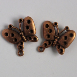 Large, antique copper coloured, two holed butterfly charm, pack of 2.