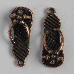 Antique copper coloured sandle charm. Pack of 4.