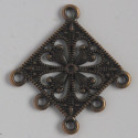 Large, antique copper coloured, diamond shaped dangler.
