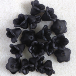 Lucite, harebell flowers, black, approx. 27 per pack.