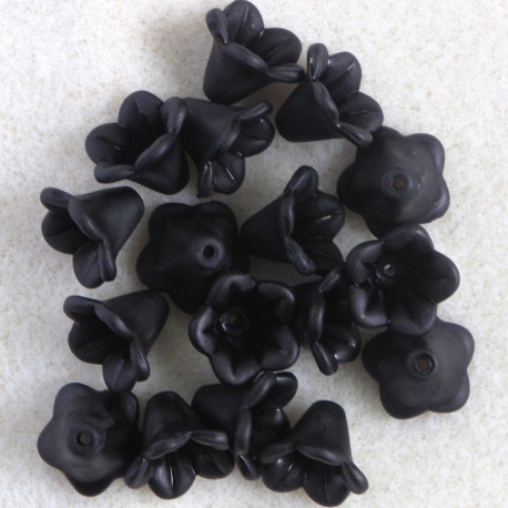 LC0216 - Lucite, Harebell Flowers, Black, Approx. 27 per Pack.