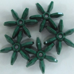 Paddle wheel beads, green. Pack of 10