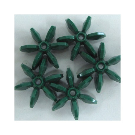 BP0028 - Paddle wheel beads, green. Pack of 10