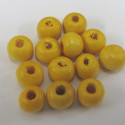 Yellow wooden beads, pack of approx 100