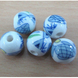 Porcelain style beads with fish transfer.