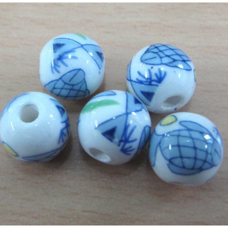 PC0012 - Porcelain style beads with fish transfer.