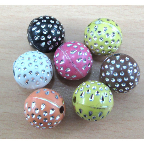 AC6012 - Mixed colours with silvery spots. Pack of 20