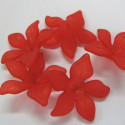 28mm red flower, 5 petal. Pack of approx 13.