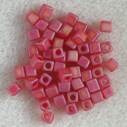 Miyuki 4 x 4mm cube, red AB frosted.