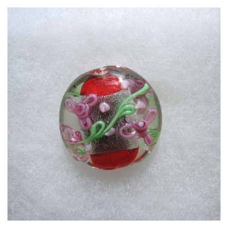 LW05r - Large Coin Shape Bead, Silverfoiled, Red in Centre with Pink and Green Decoration.