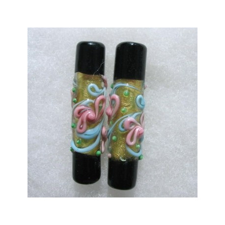 LW07 - Black and gold lampwork tube bead.Outstanding pale blue,pink and green decoration.