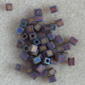 Miyuki 4 x 4mm cube, transparent, frosted dark rainbow.