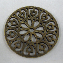 F9010 - Large pierced disc, antique brass colour.