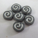 Shell swirlglass bead, grey/white. Pack of 10