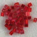 Miyuki 4 x 4 mm cube, silver lined, red, 10g packs.